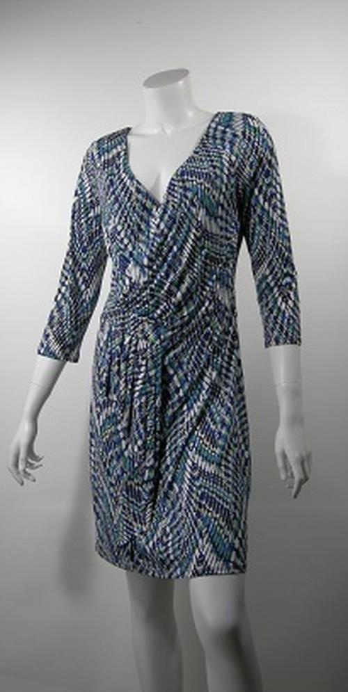 PARIS MAILLE DEMOISELLE  T2 カシュクールプリントドレス ブルー系