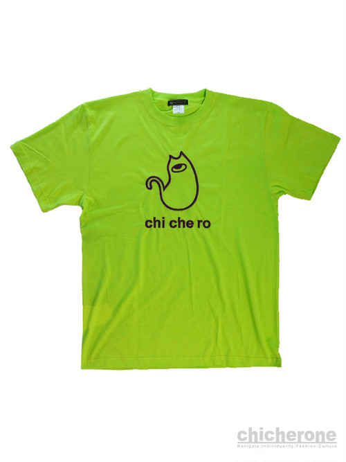 【chi che ro】Logocat embroidery T/S  L.Green x Purple