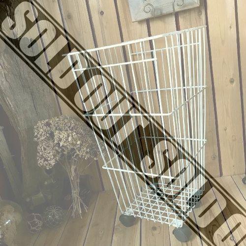 ≫ヴィンテージ*古い大きなワイヤーアイアンバスケットH71*キャスター付ランドリーバスケット大型ゴミ箱ダストかごカゴ籠収納*錆ビンテージ