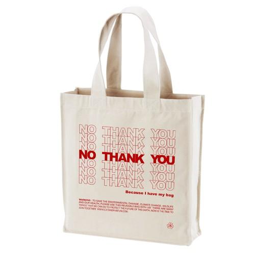 【Cat & Parfum】NO THANK YOU Big Canvas Square Tote Bag