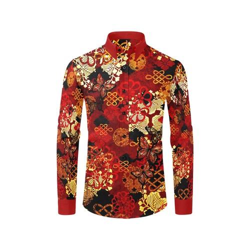 家紋装飾Red Gold メンズサイズ長袖シャツ