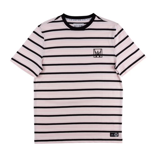 WELCOME Icon Stripe Yarn-Dyed Short Sleeve Knit - Light Pink