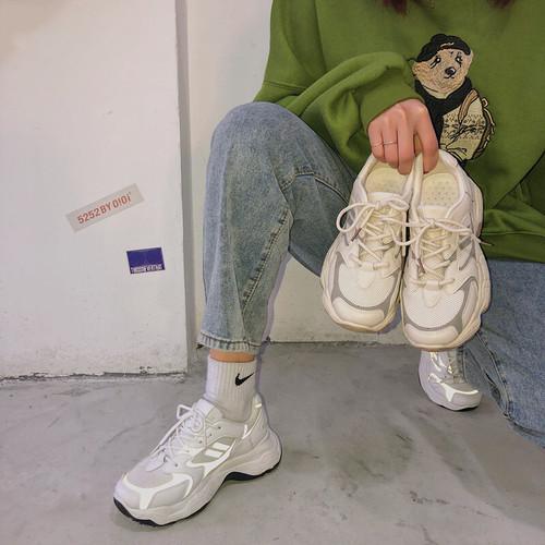 レディース スニーカー ダッドスニーカー 春 新生活 運動靴 デイリー 厚底 レースアップ ローカット メッシュ 合皮 軽量 歩きやすい 白 ホワイト アプリコット 通勤 通学 学生 韓国 liuweiyong8586341