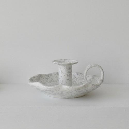 spongeware handle candle holder sandy gray / テーパー キャンドルホルダー 韓国 北欧