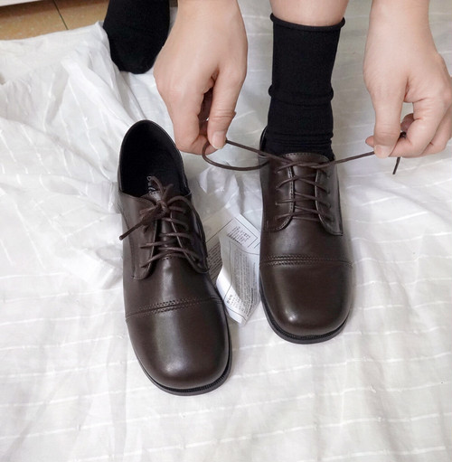 オックスフォード ストレートチップ スクエアトゥ 革靴 合皮 春秋 マニッシュ 韓国