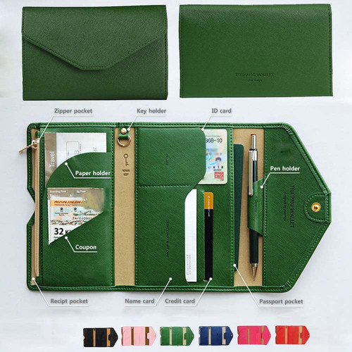 送料無料 パスポート チケット ケース 多機能 財布 小銭入れ カード入れ 薄型 マルチケース