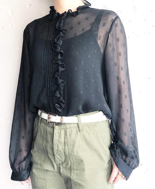 vintage see-through frill blouse