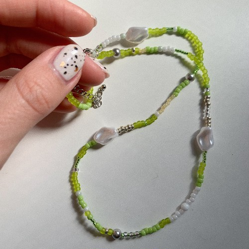 lime green pearl necklace