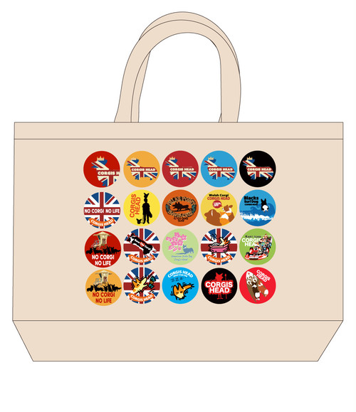 No.2020-kan-tote0001L  : 缶バッジデザインシリーズ 20ピース トートバッグLサイズ
