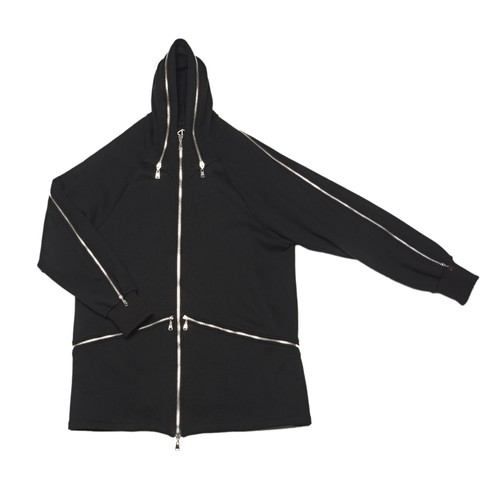 Hood Jacket (Black-Silver Zip)