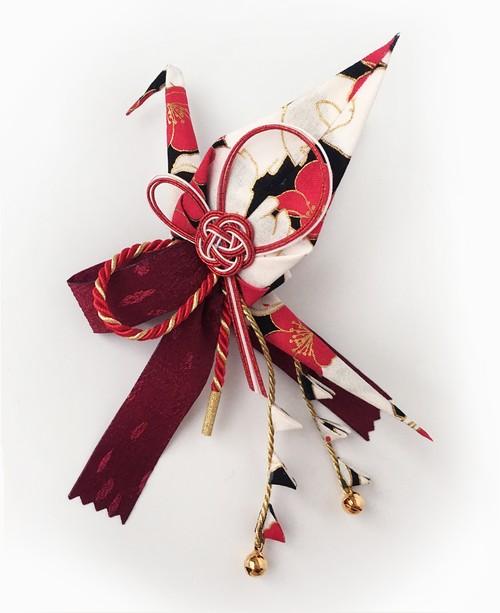 織り鶴カチューシャ 1【赤×黒 うさぎ柄】