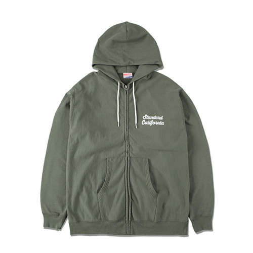 STANDARD CALIFORNIA #SD US Cotton Zip Hood Script Logo Sweat Shirt Olive