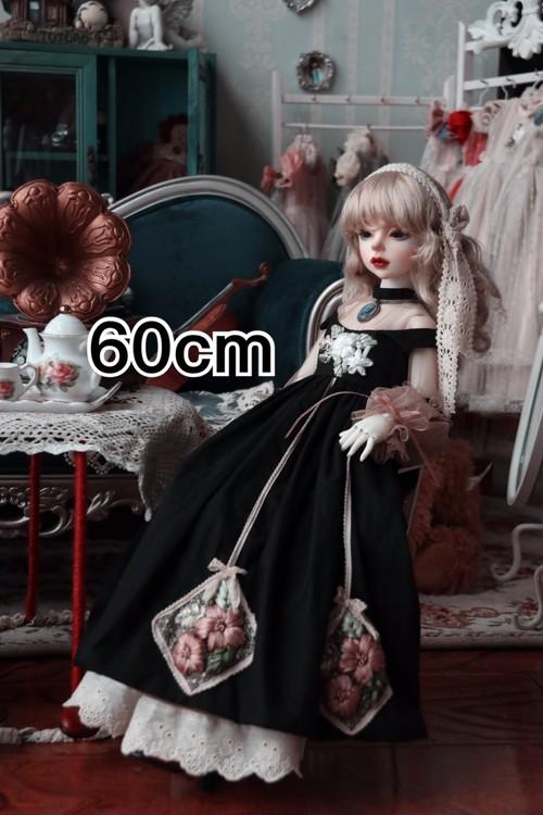 【即納】花刺繍ドレス①【60cm】