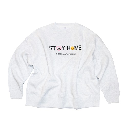 "HOPELESS ""STAY HOME"" Slogan Sweatshirts  LIGHT GREY"
