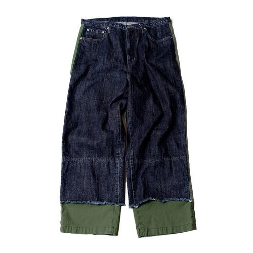 Layered Denim Pants -indigo <LSD-AI3P5>