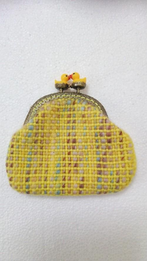 手織りのヒヨコがま口
