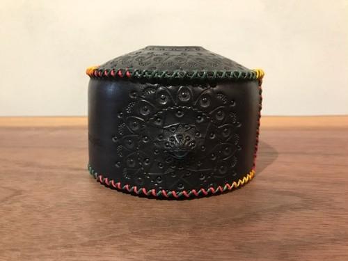 ランタン ガス缶カバー 黒×ラスタステッチ