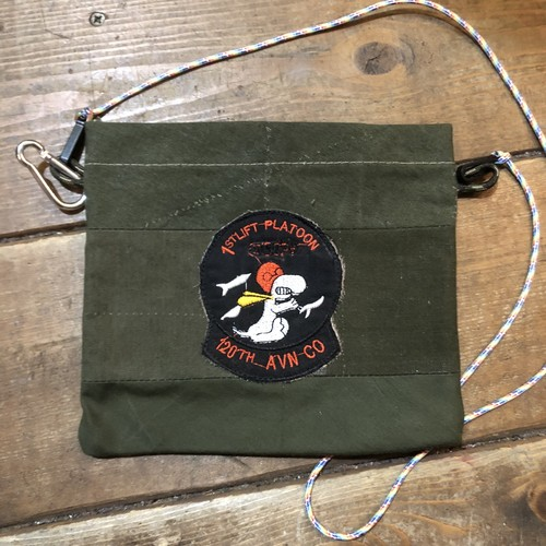 Vintage Tent Cloth Sacoche with patch, Platoon