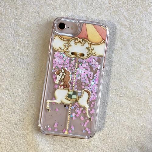 [iPhone6/6s/7/8/X/XS受注生産]【ピンクグリッター】カルーセル柄スマホケース