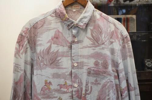 late 70's DONOVAN cowboy-print chambray Shirt
