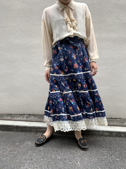 teared skirt navy