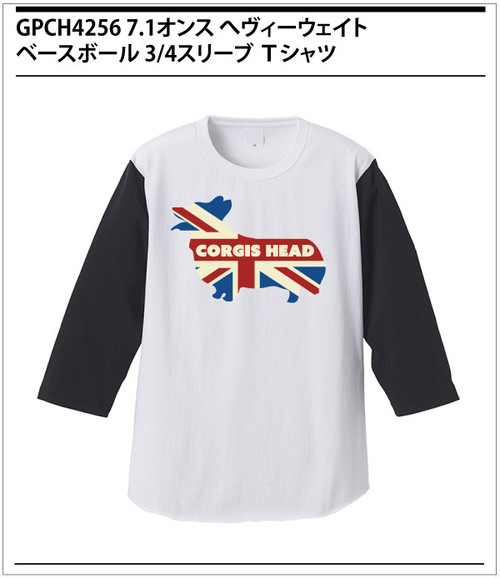 no103 ユニオンジャック・コーギー / 7.1oz へヴィーウェイト ベースボール 3/4スリーブ Tシャツ