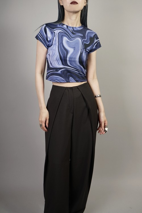 MARBLE CROPPED TOPS  (BLUE) 2106-91-54