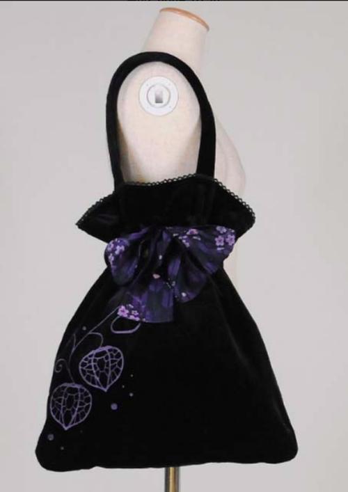 gouk雅 色いっぱいの大きなお菓子入れバッグ ベロア黒紫 GGD26-B943 BK-PUR/F