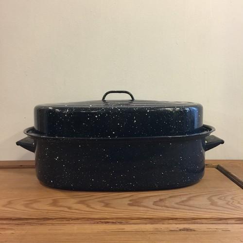 白い斑点模様のホーロー ビンテージ ロースター鍋