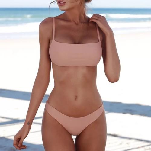 Bikini♡シンプルストラップビキニ ピンクベージュ