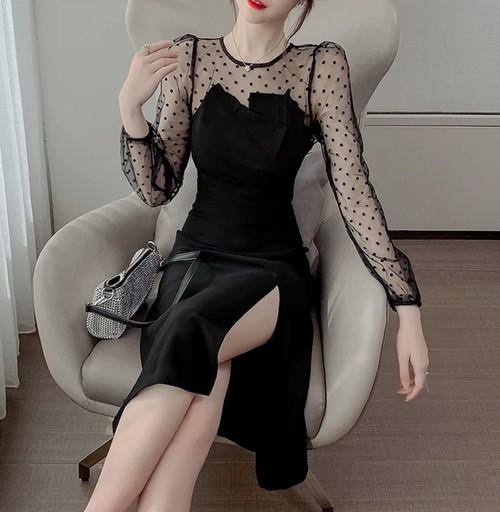 sheer dot dress 2color