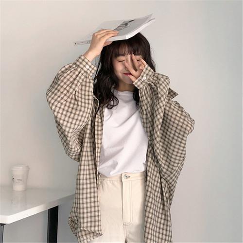 【トップス】ulzzangビックシルエットチェック柄カジュアルシャツ