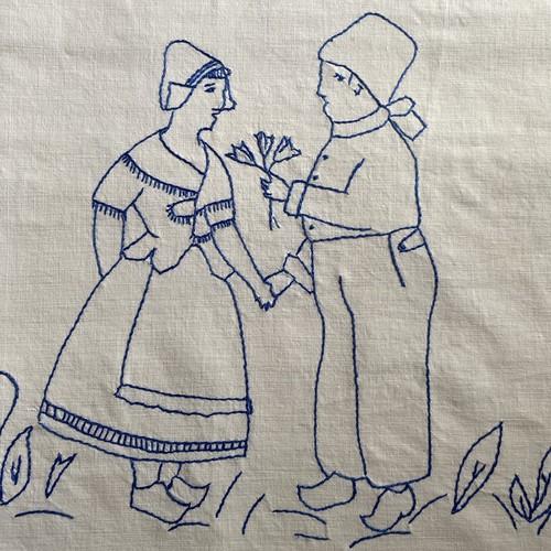 France ヴィンテージ手刺繍マルチカバー / uv0114