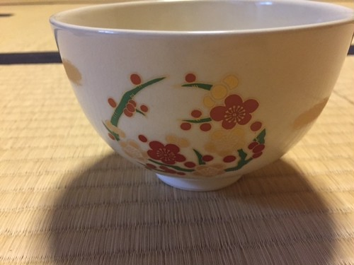 Casual Tea bowl (bamboo, plum blossoms, iris, Chrysanthemum)