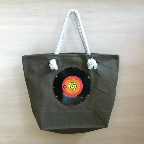 マリントートバッグ「bagu」本物のレコード カーキ 大きめトートバッグ MT-103KR