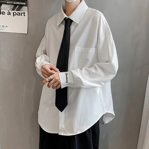 ネクタイ付き! 無地 poloネック カジュアル 韓国風 メンズシャツ
