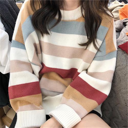 【トップス】スウィートラウンドネック配色ボーダーニットセーター