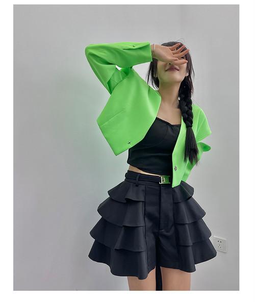 フリルボリュームショートパンツ(Green,Black)140