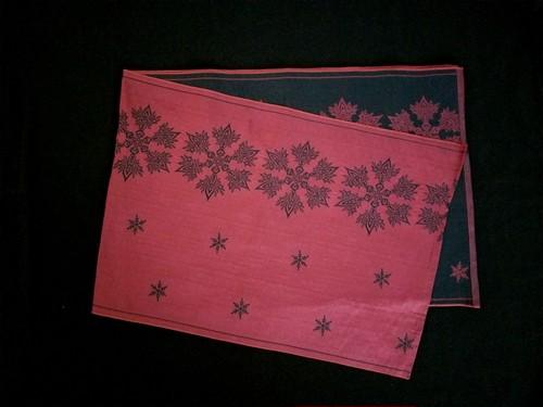 リバーシブル織兵児帯 雪の結晶 (crystal of snow) 黒×赤