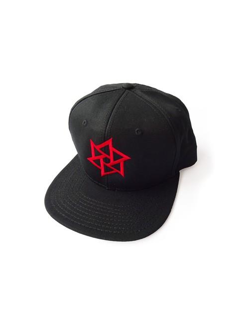 帽子1号 「鱗廻(りんね)」 黒(赤刺繍)