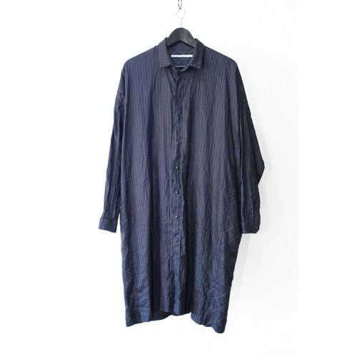 【VITAL】Indigo Dyed Long Shirts (Indigo Dye & Sumi Coating)