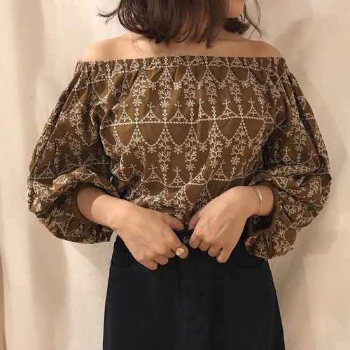 brown lace off shoulder