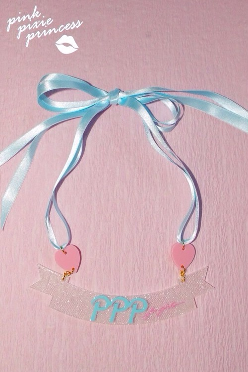 ●PPP● Ribbon Ribbon Necklace / white lace clear × milky blue