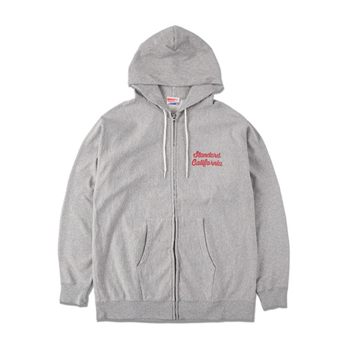 STANDARD CALIFORNIA #SD US Cotton Zip Hood Script Logo Sweat Shirt Gray
