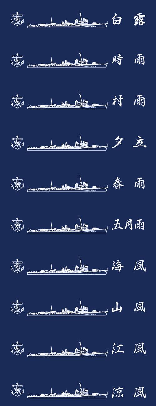 白露型駆逐艦姉妹艦10隻A1生地(1m幅)
