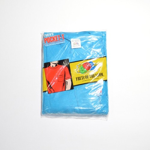 Deadstock★ 80's 90's FRUIT OF THE LOOM ポケTEE(TURQUOISE BLUE)XL