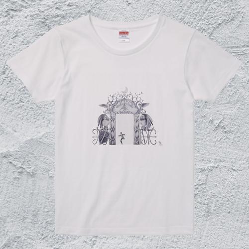 豪華すぎる非常口T*レディースホワイト/面白デザイン【色鉛筆アートTシャツ】