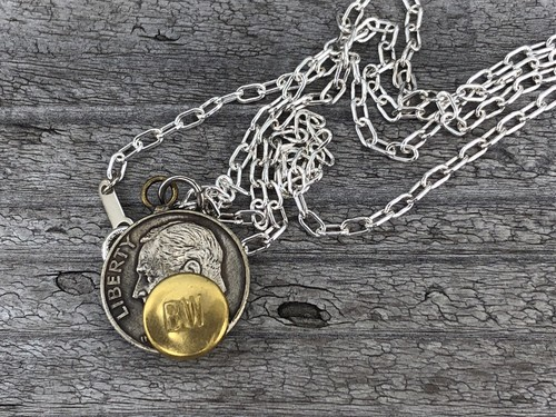 Button Works ボタンワークス Roosevelt Dime Coin Necklace-Brass