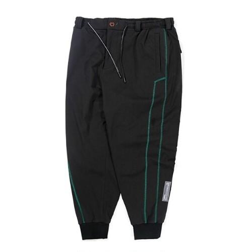 送料無料/メンズ/黒/コットン/サイド緑ライン/裾リブ/ジョガーパンツ