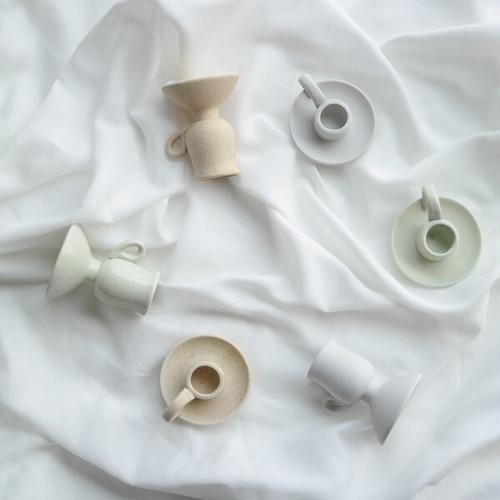 ceramic candle holder 2type 3color / セラミック ハンドル キャンドル ホルダー スタンド 韓国 北欧 雑貨